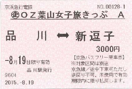 京急線の各駅から新逗子駅までの往復割引乗車券+逗子・葉山指定エリアの京急バス1日乗車券