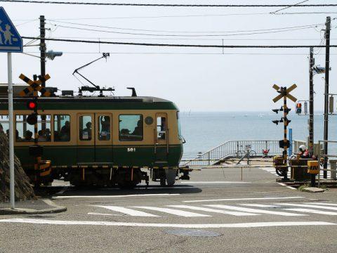 鎌倉高校前駅近くの踏切