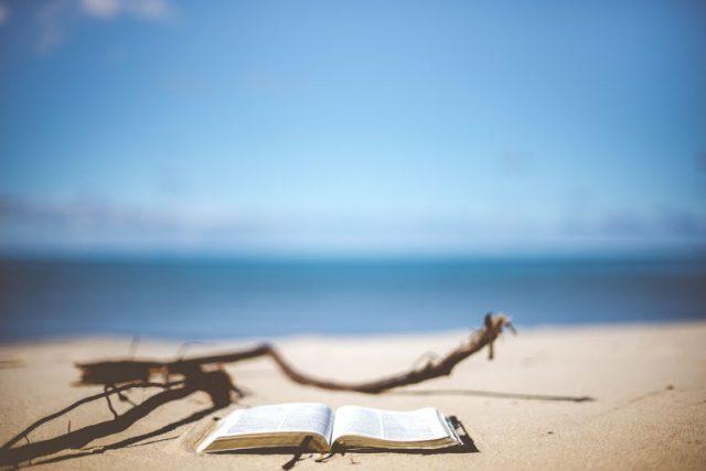 海辺で波の音を聞きながら読書