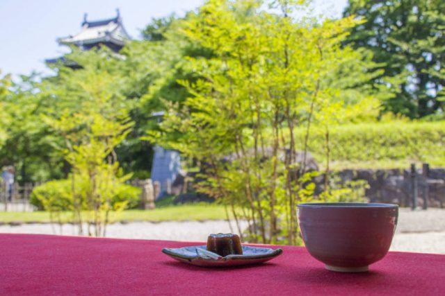 庭園を眺めながらお抹茶をいただく